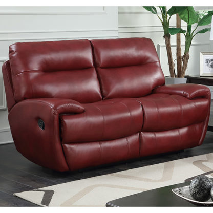 An Image of Orionis LeatherGel And PU Recliner 2 Seater Sofa In Red