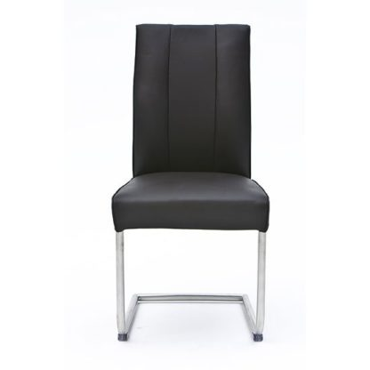 An Image of Alamona 1 Dining Chair In Black Faux Leather
