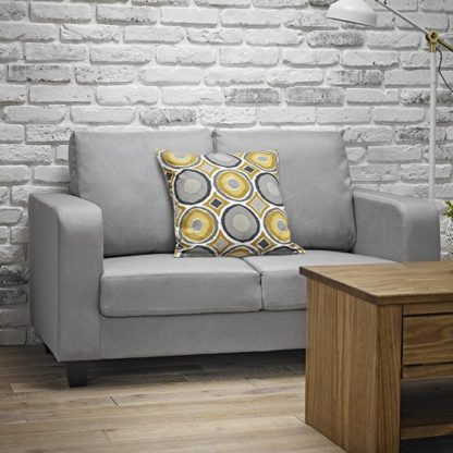 An Image of Canes Linen Fabric 2 Seater Sofa In Grey