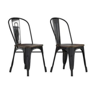 An Image of Fusion Black Metal Dining Chairs In Pair With Wood Seat