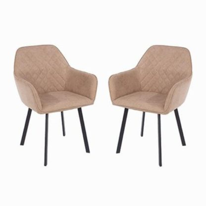 An Image of Arturo Sand Fabric Dining Chair In Pair With Metal Black Legs