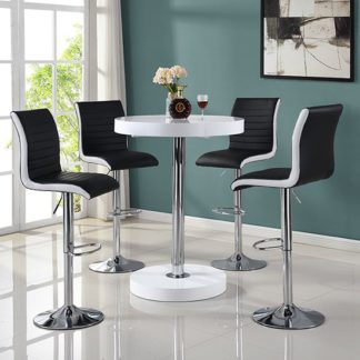 An Image of Havana Bar Table In White With 4 Ritz Black And White Bar Stools