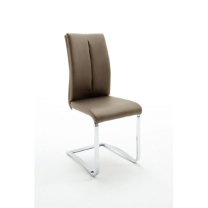 An Image of Tavis Metal Swinging Cappuccino Faux Leather Dining Chair