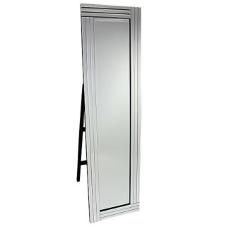 An Image of Cheval Triple Bar Floor Standing Mirror in Silver