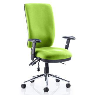 An Image of Chiro High Back Office Chair In Myrrh Green With Arms
