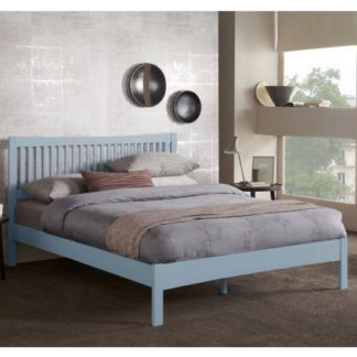 An Image of Mya Hevea Wooden Double Bed In Grey