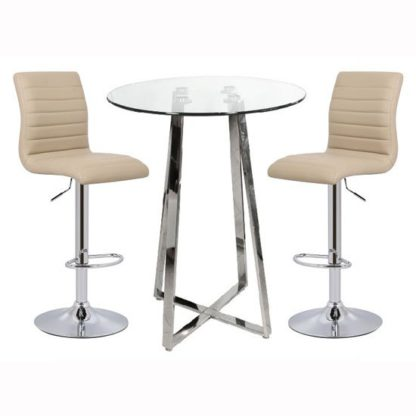 An Image of Poseur Bar Table In Clear Glass With 2 Ripple Stone Bar Stools