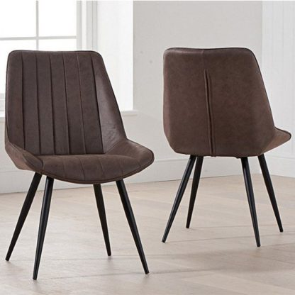 An Image of Nunki Antique Mink Fabric Dining Chair In Pair