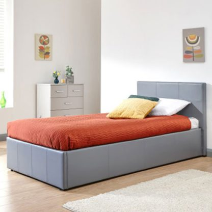 An Image of Side Lift Ottoman Faux Leather Single Bed In Grey