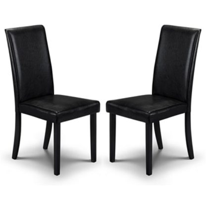 An Image of Hudson Black Faux Leather Dining Chair In Pair