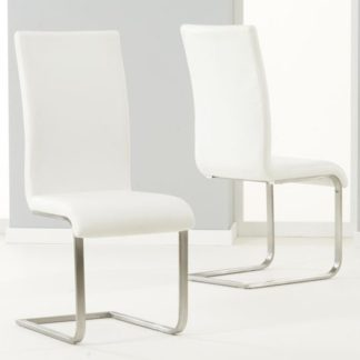 An Image of Nenque Ivory White PU Leather Dining Chairs In Pair