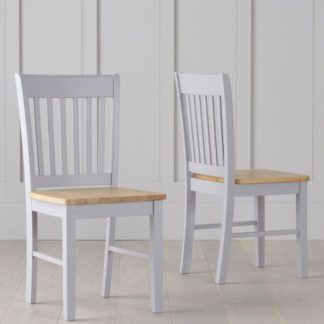 An Image of Sculptor Oak And Grey Dining Chairs In Pair