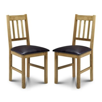 An Image of Coxmoor Wooden Dining Chair In Oiled Oak Finish In A Pair