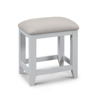 An Image of Bohemia Wooden Dressing Table Stool In Grey With Padded Seat