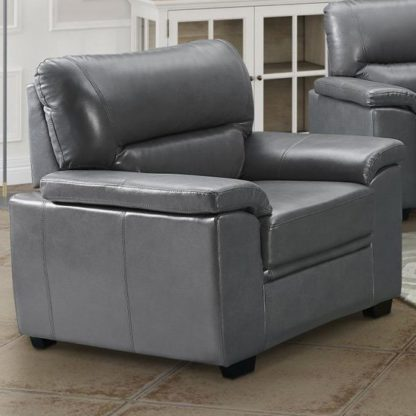An Image of Rachel LeatherGel And PU 1 Seater Sofa In Grey