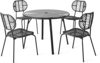 An Image of Swara Garden 4 seater Round Dining Set, Black Polyrattan, Glass