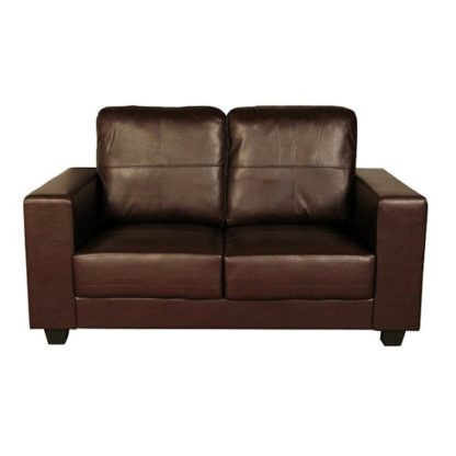 An Image of Queensland 2 Seater Sofa In Brown Faux Leather