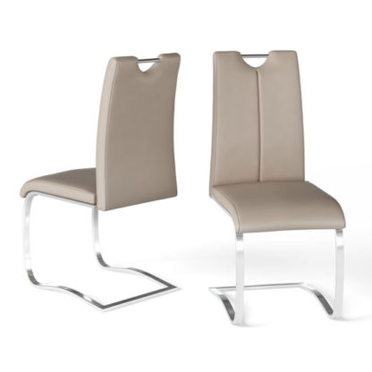 An Image of Gabi Taupe Faux Leather Dining Chair In A Pair
