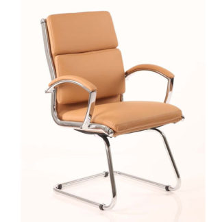 An Image of Classic Leather Office Visitor Chair In Tan With Arms