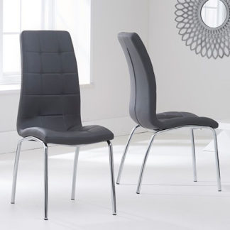 An Image of Grus Grey Leather Dining Chairs In Pair