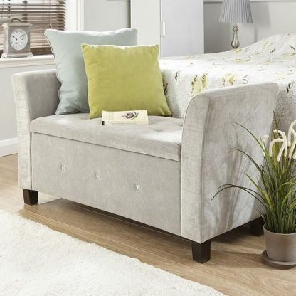 An Image of Charter Modern Fabric Ottoman Seat In Silver With Diamante