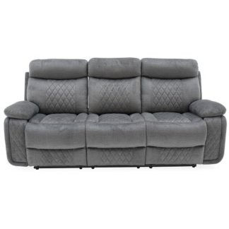 An Image of Katniss Recliner 3 Seater Sofa In Grey Fabric