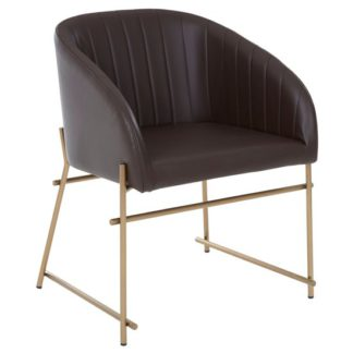 An Image of Bunda Faux Leather Dining Chair In Brown