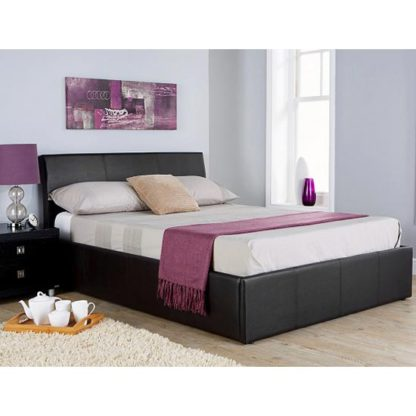 An Image of Ascot Fabric King Size Bed In Black
