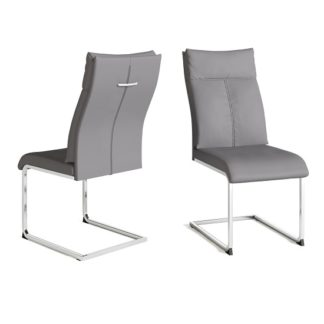 An Image of Chapin Faux Leather Dining Chair In Grey With Chrome Leg In Pair