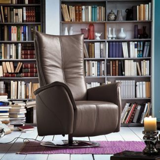 An Image of Martin Reclining Chair In Brown Leather And Chrome Base