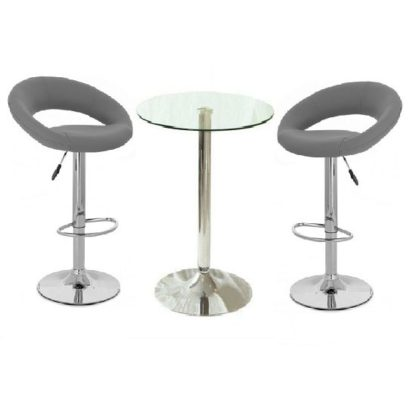 An Image of Gino Glass Bar Table And 2 Leoni Bar Stools In Charcoal Grey