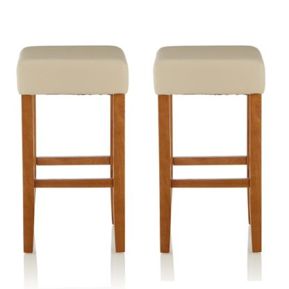 An Image of Newark Bar Stools In Cream PU And Oak Legs In A Pair