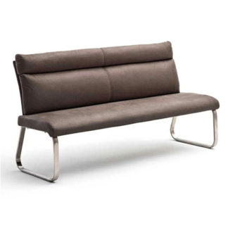 An Image of Rabea Fabric Large Dining Bench In Brown With Steel Frame