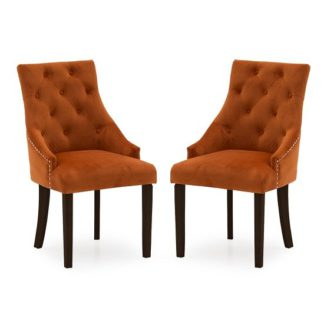 An Image of Vanille Velvet Dining Chair In Pumpkin With Wenge Legs In A Pair