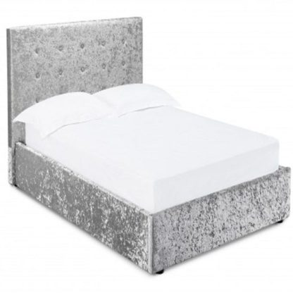 An Image of Stratford Double Storage Bed In Silver Crushed Velvet