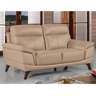 An Image of Watham 3 Seater Sofa In Taupe Faux Leather With Wooden Legs
