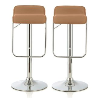 An Image of Mestler Modern Bar Stool In Taupe Faux Leather In A Pair