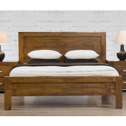 An Image of California Wooden King Size Bed In Rustic Oak