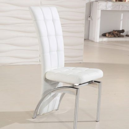 An Image of Ravenna White Faux Leather Dining Room Chair