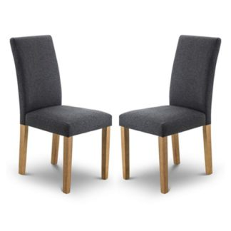 An Image of Hastings Slate Linen Fabric Dining Chair In Pair