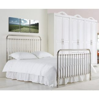 An Image of Rose Classic Metal King Size Bed In Chrome