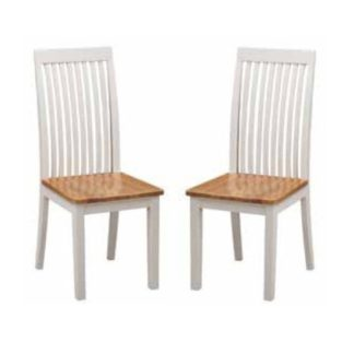 An Image of Hart Wooden Slatback Dining Chairs In Stone Painted In A Pair