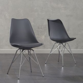 An Image of Crater Dark Grey Faux Leather Dining Chairs In Pair