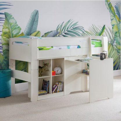 An Image of Pluto Bunk Bed With Bookcase And Study Desk In Stone White