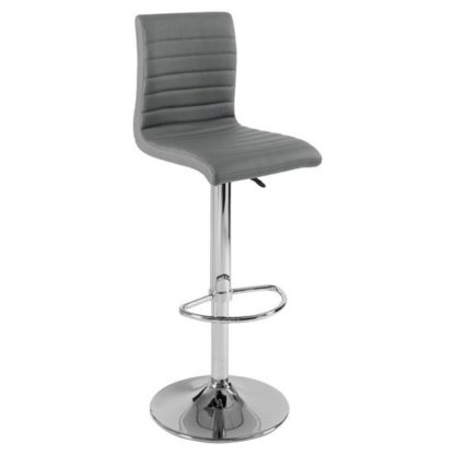An Image of Ripple Bar Stool In Charcoal Grey Faux Leather With Chrome Base