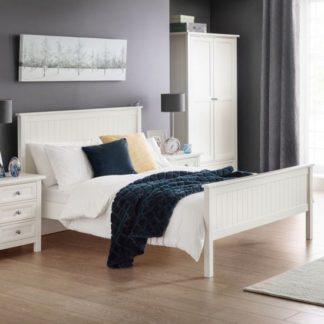 An Image of Maine Wooden Double Bed In Surf White