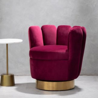 An Image of Bealie Velvet Bedroom Chair In Wine