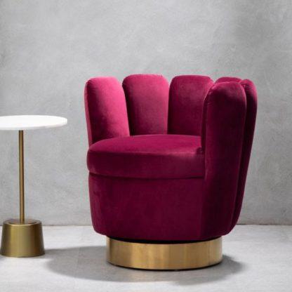An Image of Bealie Velvet Bedroom Chair In Wine