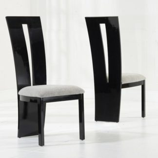 An Image of Ophelia Dining Chair In Black Gloss And Grey Fabric In A Pair