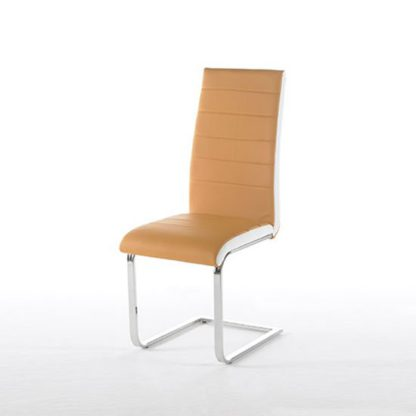 An Image of Top Curry Finish Faux Leather Dining Chair